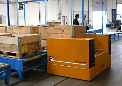 AGV with roller conveyor