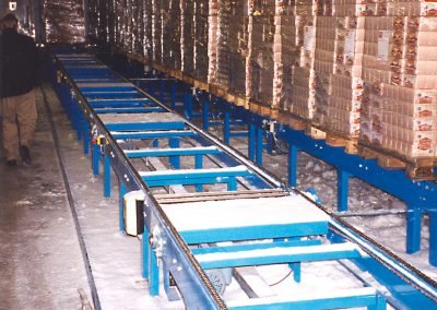Chain conveyors in cold store